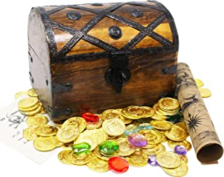 Well Pack Box Wooden Pirates Treasure Chest 156 Plastic Coins Gems Map Large 8x6x6 Pirate Note