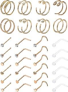 Milacolato 40pcs 20G 316L Stainless Steel Nose Ring Hoop Nose Stud Piercings Set Lip/Nose/Labret Piercing Jewelry