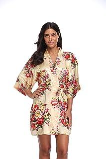 KimonoDeals Women s dept Satin Short Floral Kimono Robe for Wedding Party 92addd2b9