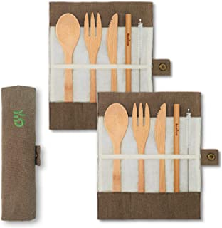 2 Cubiertos de bambú | Cubiertos madera ecológicos |Utensilios madera | Set para picnic | Set cubiertos para camping | Cucharada, tenedor, cuchillo, pajita | 20 cm | Verde Oliva |Bambaw