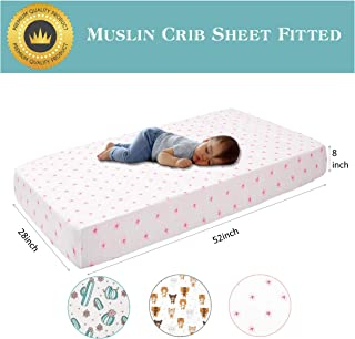 """Little Grape Land Muslin Cotton Crib Sheets Fitted for Girls - Pink Floral - Premium Soft and Breathable Baby Sheets - Size 28""""x52""""for Standard Crib and Toddler Mattress"""
