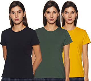 Amazon Brand - Symbol Women's Solid Regular Fit Half Sleeve T-Shirt (Combo Pack of 3)