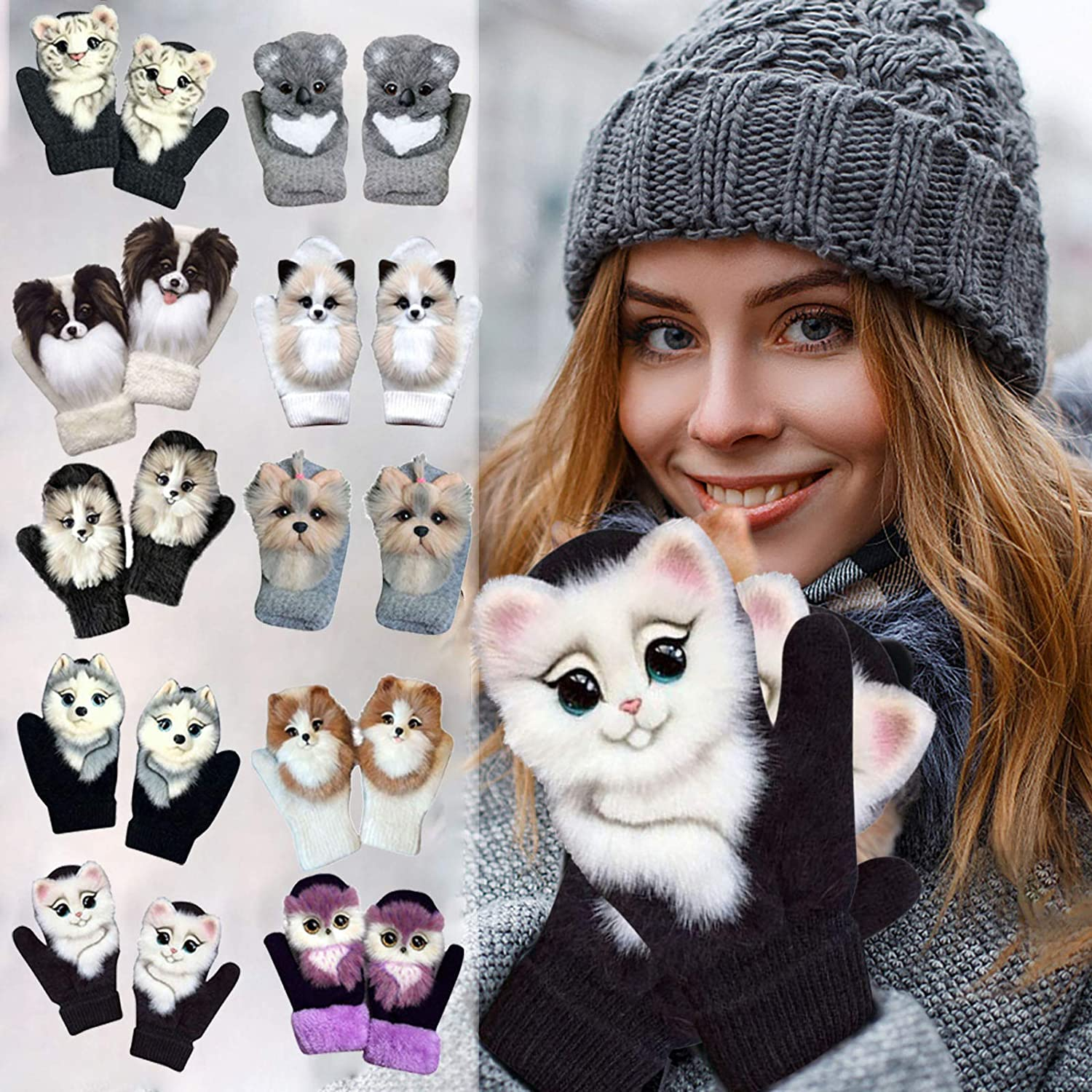 Women Winter Gloves Cute Cartoon Animals Warm Mittens Thick Soft Faux Fur Gloves with Fleece Lined
