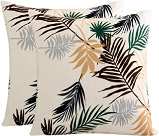 Subrtex Durable Soft High Stretch Leaves Printed Square Decorative Throw Pillow Covers Set Cushion Case for Sofa Bedroom Car Furniture Protector Machine Washable, Set of 2 (18