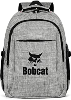 Laptop Backpack for Men Women Black-logo-Bobcat-Equipment- Spacious and Roomy with USB Charging Port Casual Book Backpacks-Gray
