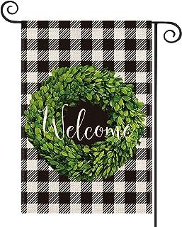 AVOIN Fall Boxwood Wreath Welcome Garden Flag Vertical Double Sided, Buffalo Check Plaid Rustic Farmhouse Flag Yard Outdoo...