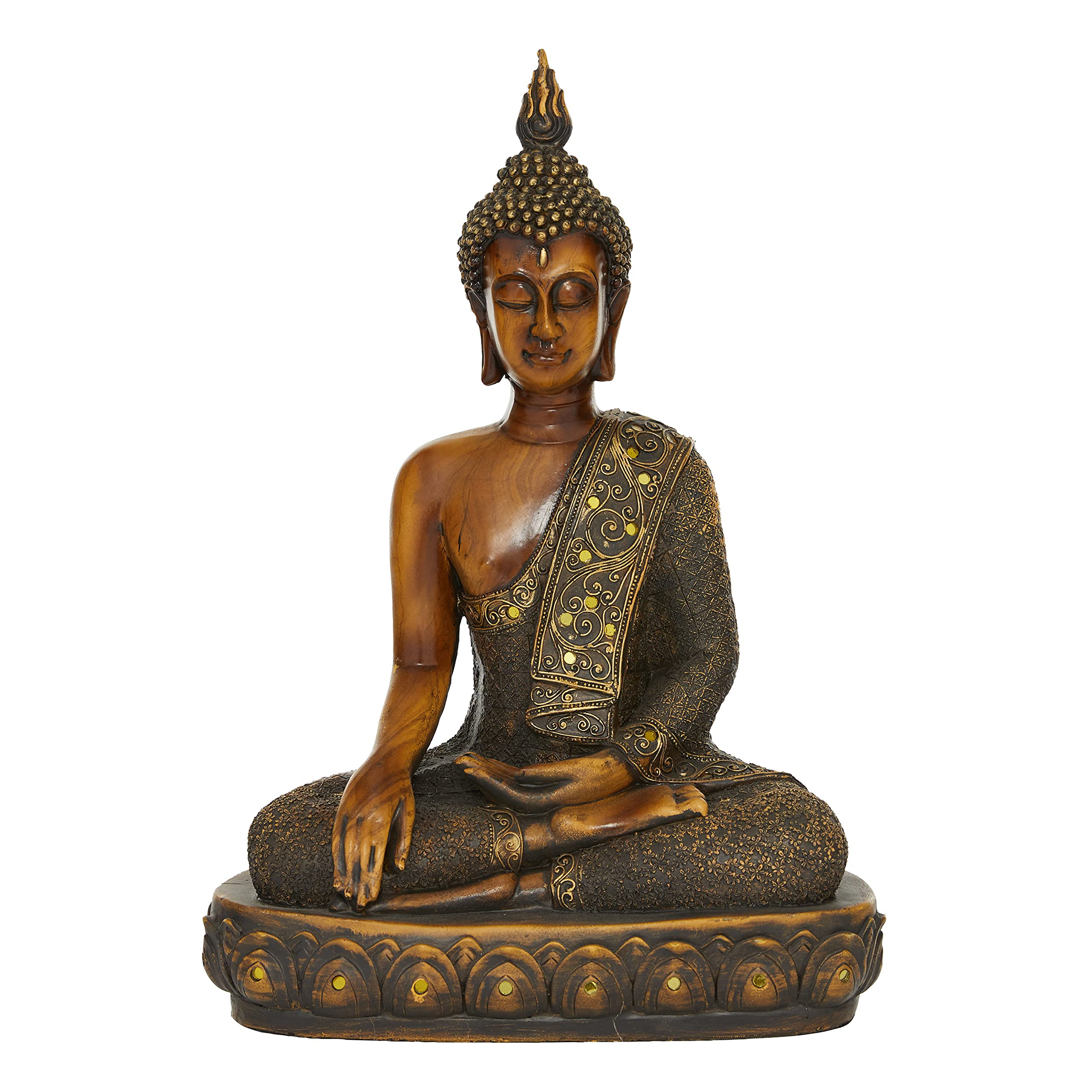 "Benzara Asian-Themed Sitting Polystone Buddha Sculpture, 15 by 12"", Textured Bronze Finish,44125"
