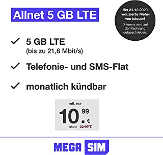 Mobile Phone Contract Green LTE 5 GB – Internet Flat, Allnet Flat Telephony & SMS to All German Networks, EU Roaming, Mont...