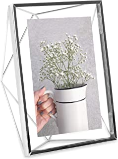Umbra Prisma Picture Frame, 5x7 Photo Display for Desk or Wall, Chrome