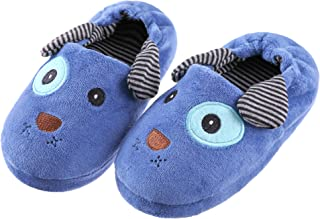 FANZERO Toddler Boys Girls Doggy Slippers Soft Plush Warm Cartoon Puppy Non-Slip Winter House Shoes