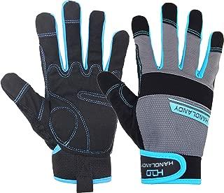 HANDLANDY Work Gloves Men & Women, Utility Mechanic Working Gloves Touch Screen, Flexible Breathable Yard Work Gloves (Large, Grey)