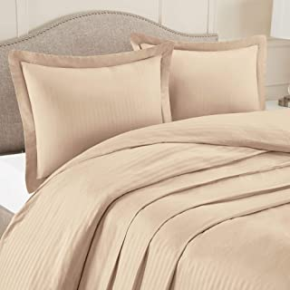 """Nestl Bedding Duvet Cover 3 Piece Set – Ultra Soft Double Brushed Microfiber Bedding – Damask Dobby Stripe Comforter Cover and 2 Pillow Shams - King/Cal King 90"""" x 104"""" - Taupe Sand"""