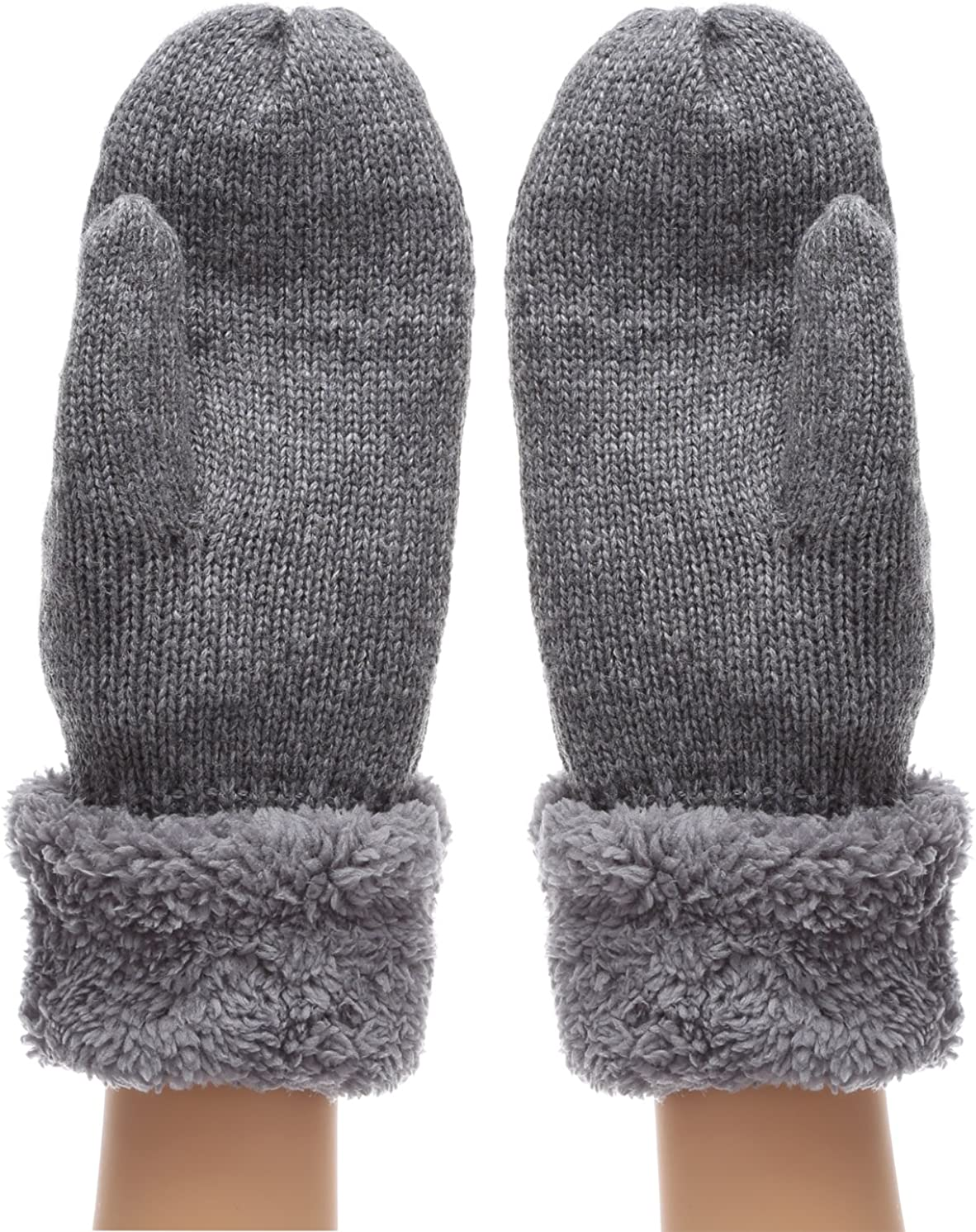 Women's Winter Warm Cable Knitted Mitten Plush Lining Gloves with Hair Tie.