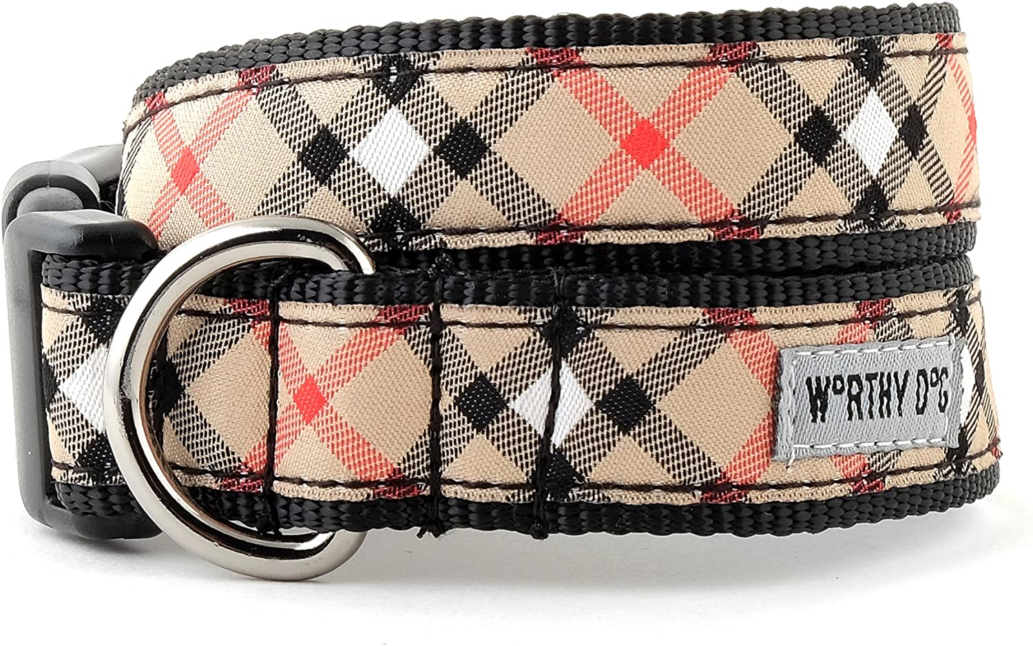Bias Plaid Tan Collar, Tan, L