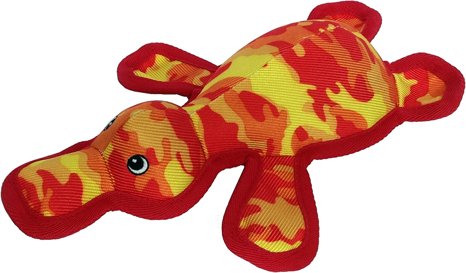 Pet Lou Squeeze Me Land Warrior Camouflage Platypus Dog Toy, Yellow Red