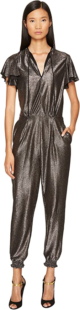 Just Cavalli - Flutter Short Sleeve Metallic Jumpsuit