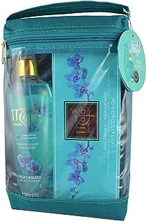 Maja Cadeauset Aqua Turquesa - drie geparfumeerde luxe zepen en een bodyspray met make-uptas - verkwikkende geur - cadeau-...