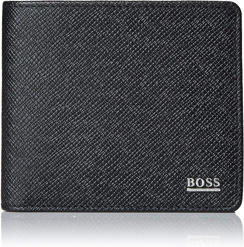 Hugo boss,portafoglio per uomo, signature collection, in pelle palmellata con taschino portamonete 50311738