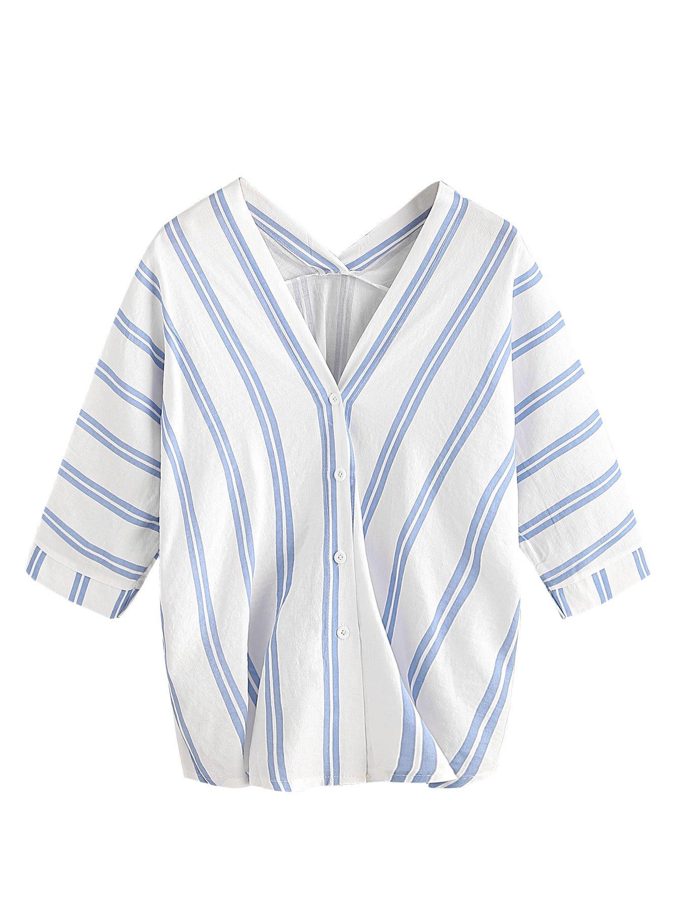 MakeMeChic 女式半袖 V 领垂直条纹夏季休闲上衣