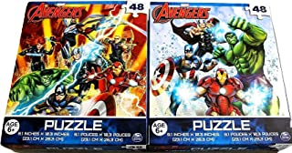 Bundle Set of 2 Avengers Jigsaw Puzzles (48 Pieces Each) Featuring Marvel Superheroes Captain America Iron Man Hulk Thor