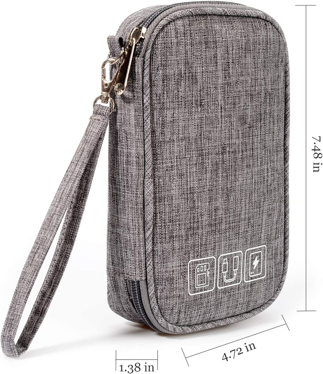 Portable Travel Universal Cable Organizer Electronics Accessories Bag, YLQP Electronic Organizer Small Digital Gadgets Carrying Case Pouch for USB Cord, SD Cards, Earphone, Power Bank (Grey)