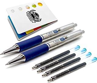 Zebra F-402 Retractable Ballpoint Stainless Steel Retractable Pen Set - Fine Point - 2 Blue Pens with 4 Zebra Refill Ink C...