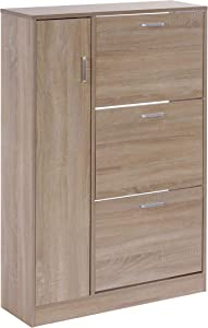 ts-ideen Scarpiera Salvaspazio in Rovere stile moderno con tre scomparti ad anta basculante e vano laterale porta giacche