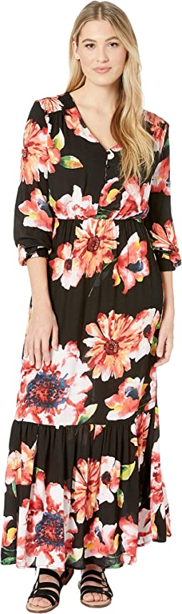 Dark Floral Button Front Maxi Dress with Sleeves