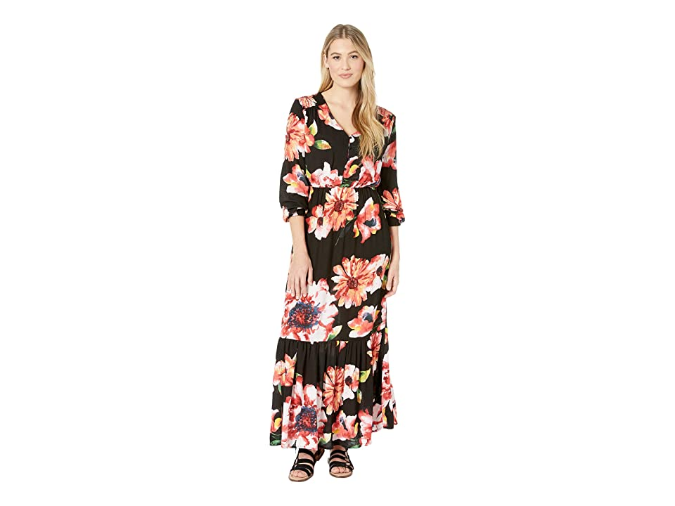 eci Dark Floral Button Front Maxi Dress with Sleeves (Black/Pink) Women