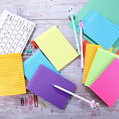 6 Pieces Sticky Notes Lined Self Sticky Notes Lined Colorful Lined Post Memos for Office, School and Home, 50 Sheets (Bright