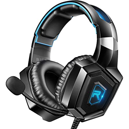 RUNMUS Gaming Headset for PS4, Xbox One, PC Headset w/Surround Sound, Noise Canceling Over Ear Headphones with Mic & LED Light, Compatible with PS5, PS4, Xbox One, Switch, PC, PS2, Mac, Laptop