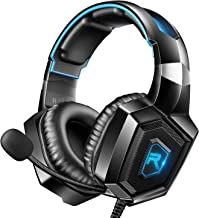 RUNMUS K8 Gaming Headset for PS4, Xbox One, PC Headset w/Surround Sound, Noise Canceling Over Ear Headphones with Mic & LE...
