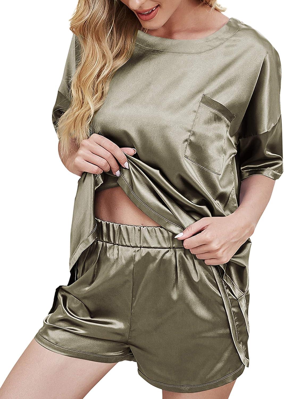CUTE MEET Women's Silk Short Sleeve Shirt Shorts Pajama Set Loungewear Sleepwear