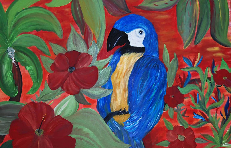 bluee Parred Garden Tropical Area Rug Floor Mat (18  x 27 )