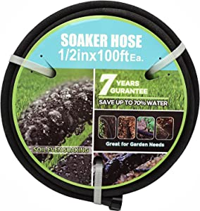 Gaotao Soaker Hose with Connectors and Fittings 1/2in Diameter 100ft Black Garden Water Hose Flower Beds and Lawns Lightweight Porous 1/2in100ft Hose