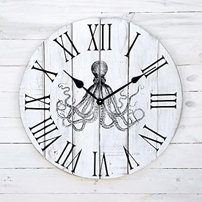 Alpine Craft Works Round Wooden Wall Clock with Octopus Print (CL21-DW-OCTO