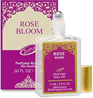 Rose Bloom Perfume Oil Roll-On (No Alcohol) Rose Oil Fragrance - Essential Oils and Perfumes for Women and Men by Zoha Fragrances, 15 ml / 0.50 fl Oz