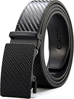 CHAOREN Men's Automatic Belt for Men, Ratchet Leather Belt 35 mm Wide with Gift Box - Black - Large