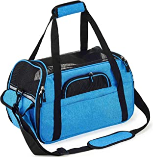 Petcomer Transportín para Perros Y Gatos Portador del Mascota Bolsa de Malla Transpirable de Viaje Bolso de Hombro (Azul, S-41.5x20x29cm)