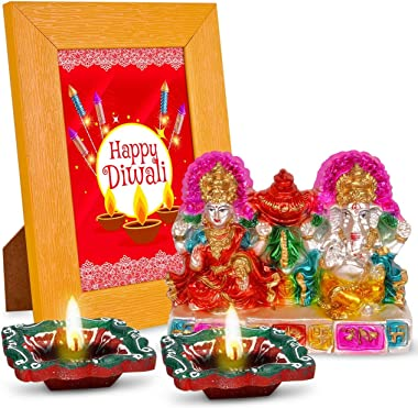 Happy Diwali 2 Diyas, Laxmi Ganesha & Quotation Photo Frame Combo Set