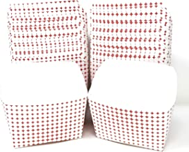 Mr Miracle 5 Ounce Paper French Fries/Fish Chips Scoop Cup. Red/White Pattern. Pack of 50