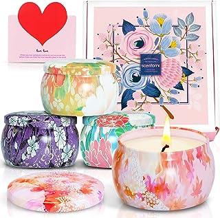SCENTORINI Vela Perfumada Aroma Velas Cera Natural en Caja de 4 Velas Perfumadas Set de Regalo Aroma a peonía Canela La...