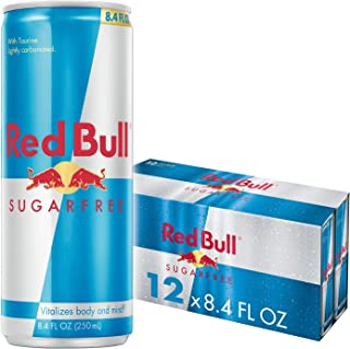 Red Bull Energy Drink Sugar Free 12 Pack of 8.4 Fl Oz, Sugarfree
