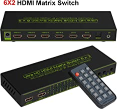 6x2 HDMI Matrix Switch,HDCP 1.2/1.4,avedio links 6 in 2 Out HDMI Switcher/Splitter with Optical & L/R Audio Output -Support 4K,3D 1080p,ARC,PIP - Includes 21keys IR Remote Control & Power Adapter