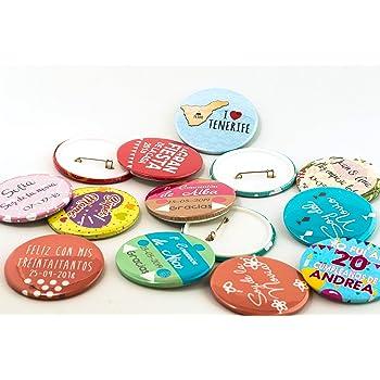 Pack de 10 Chapas personalizadas | 58 mm | Chapa personalizada para bodas, despedidas, eventos, asociaciones | Regalo personalizado y original.: Amazon.es: Hogar
