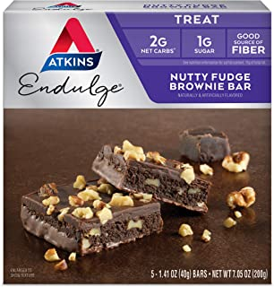 Atkins Endulge Treat Nutty Fudge Brownie Bar. Decadent Brownie Treat with Chocolatey Coating and Walnuts. Keto-Friendly. (...