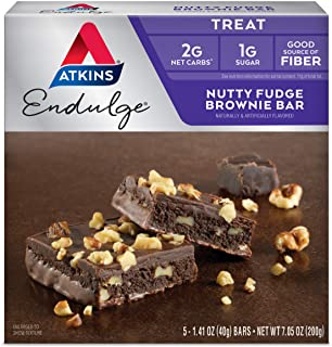 Atkins Endulge Treat, Nutty Fudge Brownie Bar, Keto Friendly, 5 Count