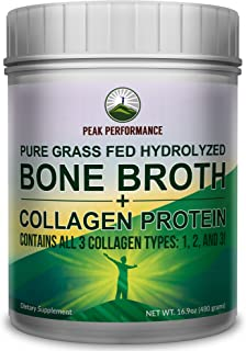 Hydrolyzed Bone Broth + Collagen Protein Peptides Powder by Peak Performance - Contains All 3 Collagen