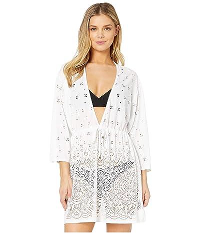 DOTTI Gypsy Gem Drawcord Waist Tunic Cover-Up (White) Women