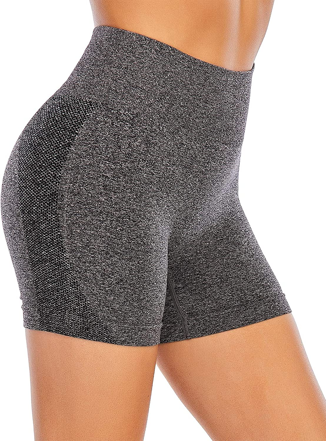 AHLW High Waist Seamless Gym Shorts for Women Mesh Breathable Compression Tummy Control Workout Athletic Exercise Shorts